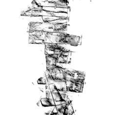 DAME LA MANO Y SEGUIMOS (momentos II), 2017 carbón prensado sobre papel sulfurizado 70x190cm