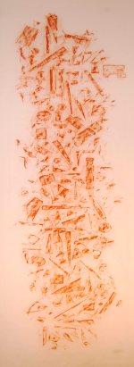 HUIDA II, 2016 carbón prensado sobre papel sulfurizado 70x190 cm