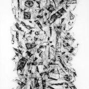 HUIDA, 2016 carbón prensado sobre papel sulfurizado 70x190cm