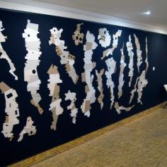 DAME LA MANO Y SEGUIMOS (detalle), 2016 cartón industrial sobre tela. 460x240 cm