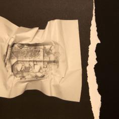 EL SILENCIO DE LAS ARRUGAS I, 2017 impresión digital sobre papel cansón y collage 36x29 cm