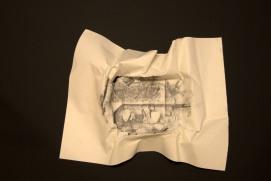 EL SILENCIO DE LAS ARRUGAS IX, 2017 carbón prensado sobre papel 36x29cm