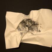 EL SILENCIO DE LAS ARRUGAS, 2017 carbón prensado sobre papel 36x29cm