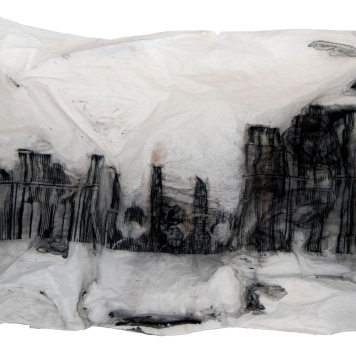 INSTANTE I, 2018 mixta sobre papel sulfurizado 70x160x20cm