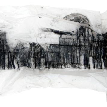 INSTANTE II, 2018 mixta sobre papel sulfurizado 70x160x20cm