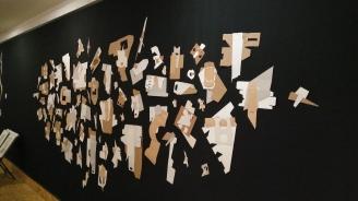 JARDÍN III (detalle), 2016. cartón industrial sobre tela. 460x240cm