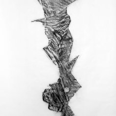 DAME LA MANO Y SEGUIMOS (momento VII), 2017 carbón prensado sobre papel sulfurizado 70x100cm