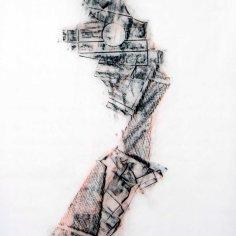 DAME LA MANO Y SEGUIMOS (momento XI), 2017 carbón prensado sobre papel sulfurizado 70x100cm