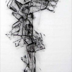 DAME LA MANO Y SEGUIMOS (momento XII), 2017 carbón prensado sobre papel sulfurizado 81x150cm