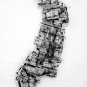 DAME LA MANO Y SEGUIMOS (momento XIII), 2017 carbón prensado sobre papel sulfurizado 70x100cm