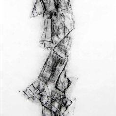 DAME LA MANO Y SEGUIMOS (momento XIV), 2017 carbón prensado sobre papel sulfurizado 70x120cm