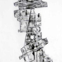DAME LA MANO Y SEGUIMOS (momento XVI), 2017 carbón prensado sobre papel sulfurizado. 70 x 120 cm